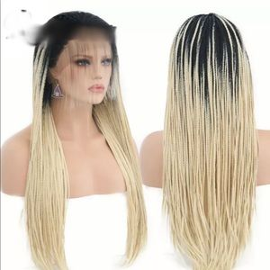 Accessories - Lace front Box Braid Wig blonde black root
